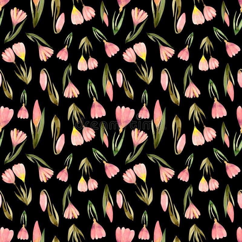 Fleurs roses de crocus avec le modèle sans couture de bouquet d'herbes illustration de vecteur