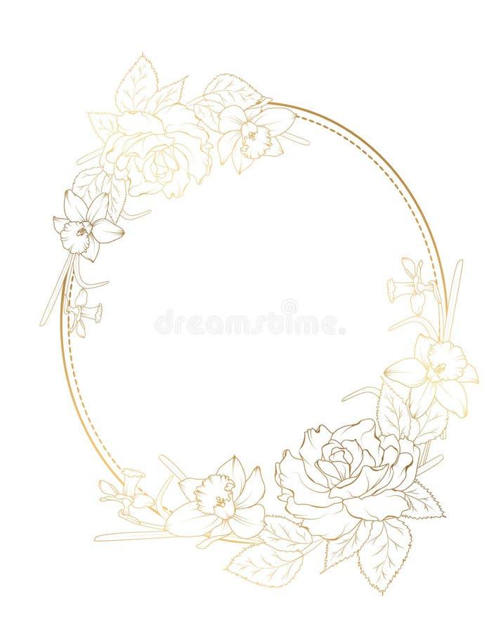 Fleurs roses de jonquille de narcisse de pivoine de cadre ovale illustration libre de droits