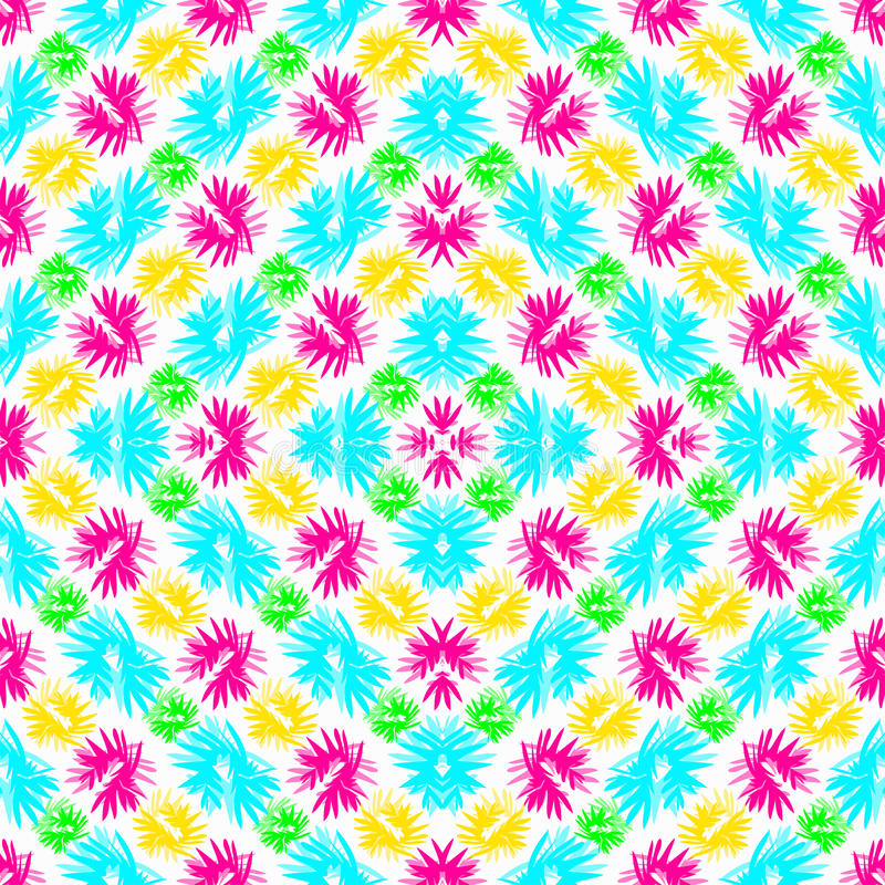 Fleurs roses et jaunes de vert bleu abstrait sur un fond blanc illustration libre de droits