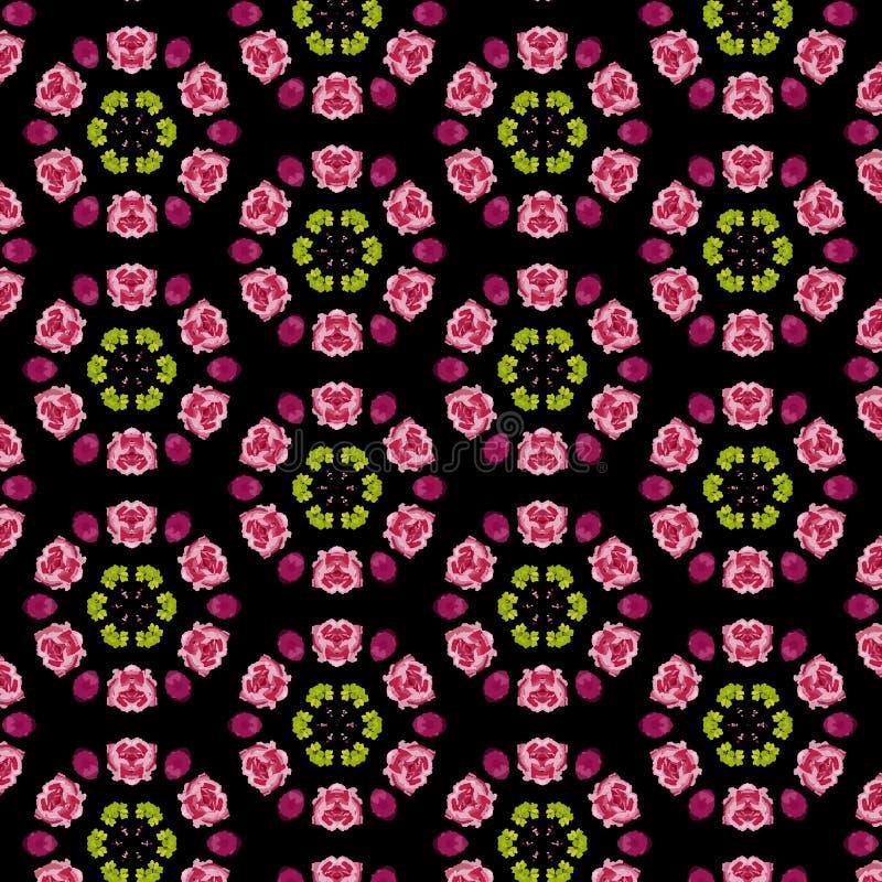 Fleurs roses et pourpres dans un modèle circulaire symétrique illustration de vecteur