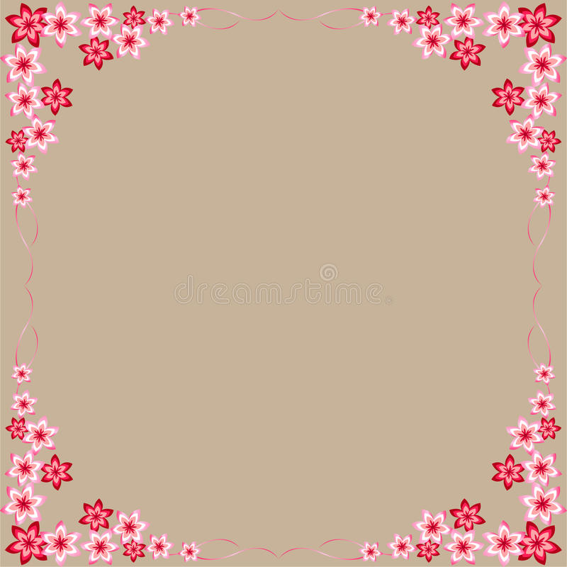 Fleurs, rouge, rose, cadres, fond gris, fleurs colorées, belles, intéressantes idées pour décorer des cartes postales, pour tout  illustration de vecteur