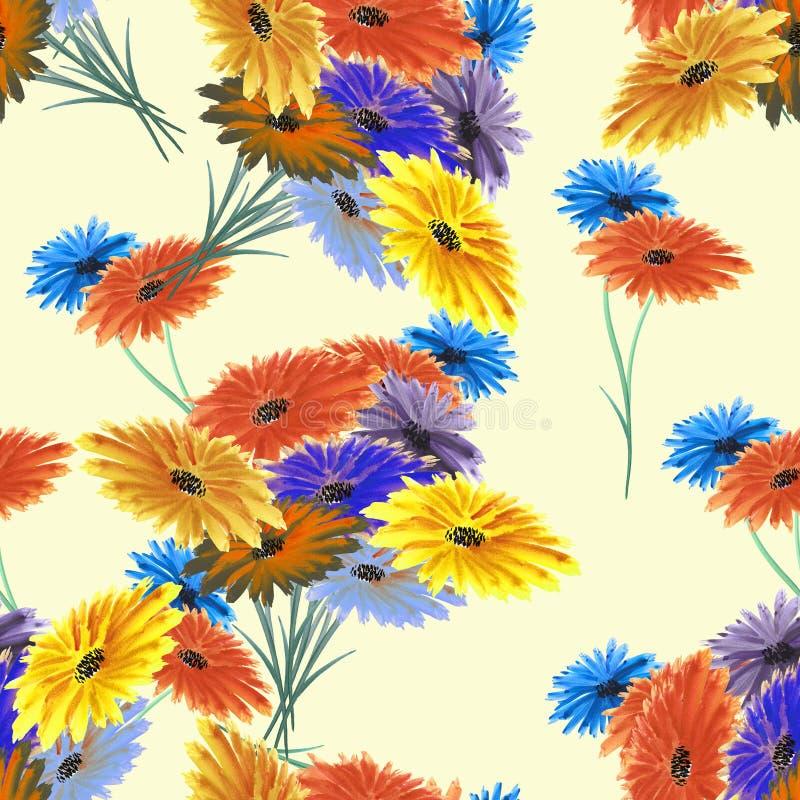 Fleurs rouges d'aquarelle sans couture de modèle, jaunes, bleues sauvages sur le fond jaune illustration de vecteur