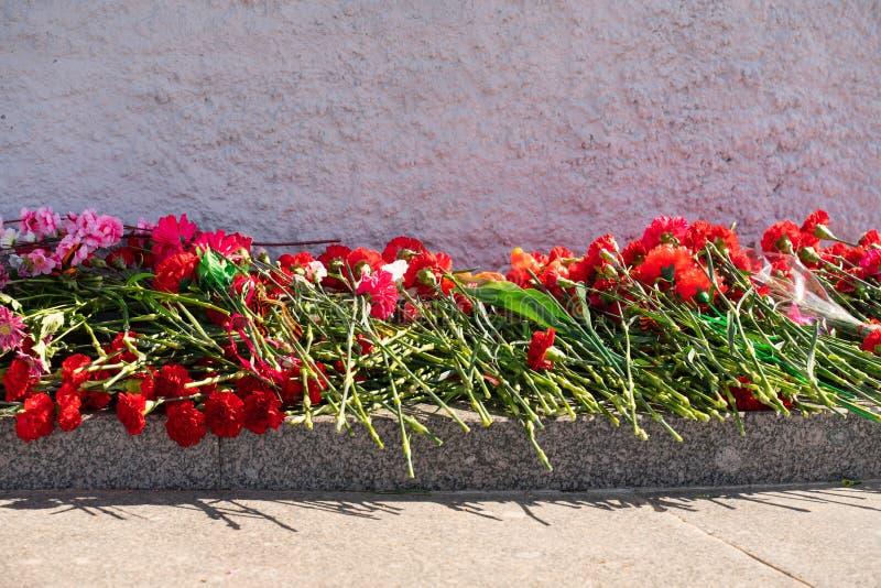 Fleurs rouges d'oeillet au m?morial aux soldats tomb?s dans la deuxi?me guerre mondiale photos libres de droits