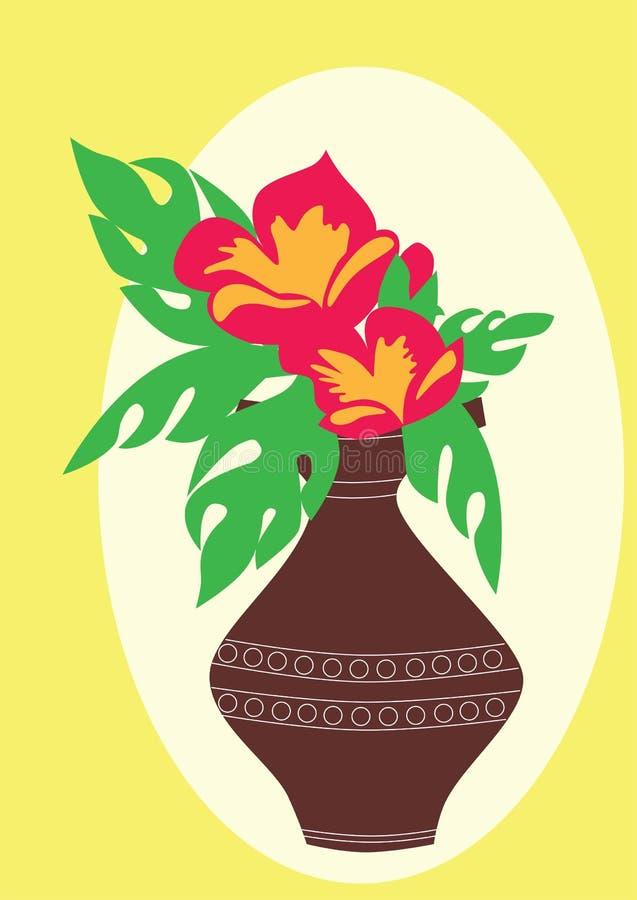 Fleurs rouges dans un vase brun images libres de droits