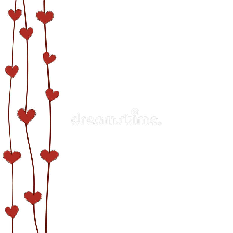 Fleurs rouges de coeur de vue illustration stock