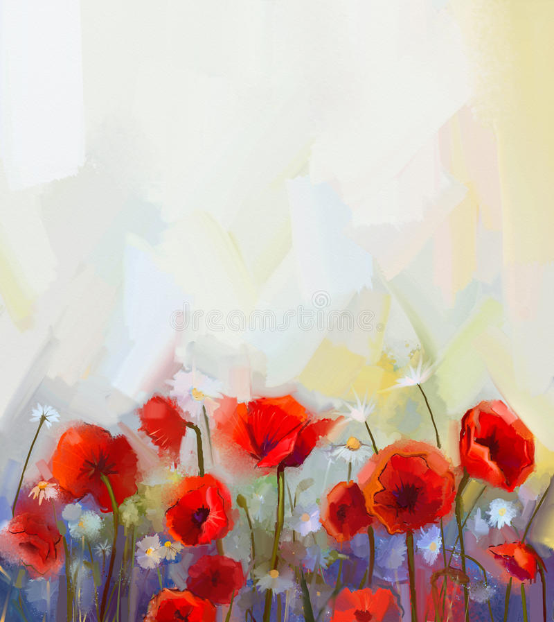 Fleurs rouges de pavot de peinture à l'huile illustration de vecteur