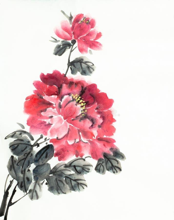 Fleurs rouges de pivoine illustration stock