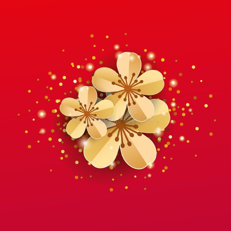 Fleurs rouges de Sakura d'or illustration stock