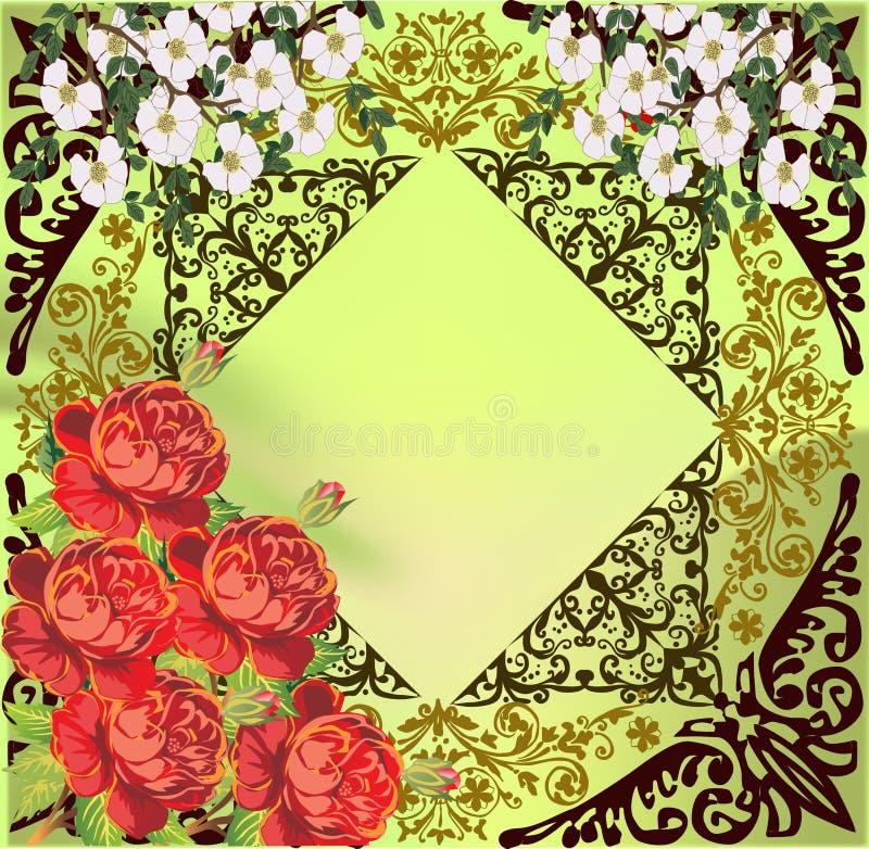 Fleurs rouges et blanches sur la décoration verte illustration de vecteur