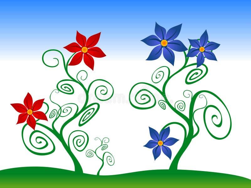 Fleurs rouges et bleues illustration libre de droits