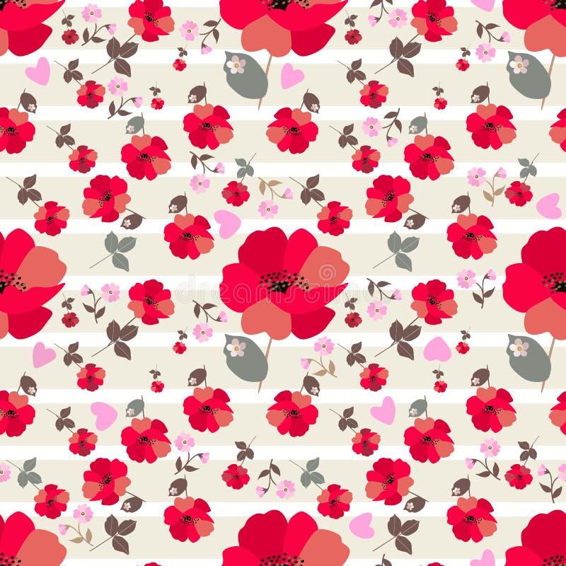 Fleurs rouges mignonnes de pavot, primev?re rose et peu de coeurs sur le fond ray? blanc et vert clair Copie sans couture pour le illustration de vecteur