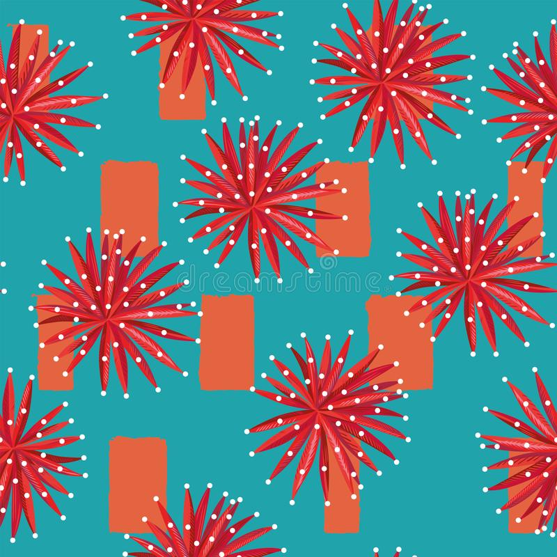 Fleurs rouges sur le rectangle de résumé sans couture illustration stock