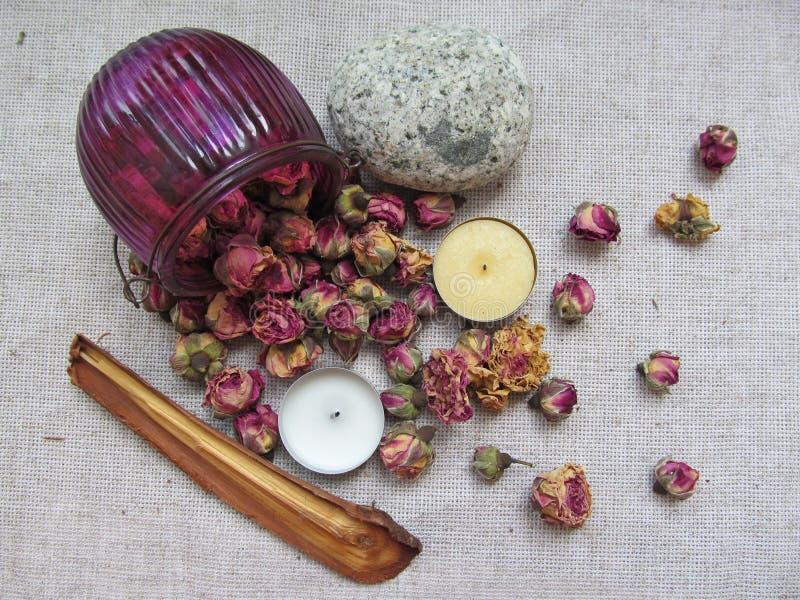 Fleurs sèches de tearoses dispersées sur la toile images stock