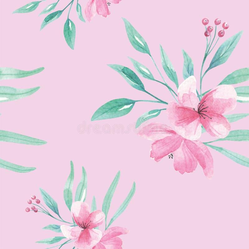 Fleurs sans couture d'Aqua Green Leaves Leaf Berries d'aquarelle de modèle illustration stock
