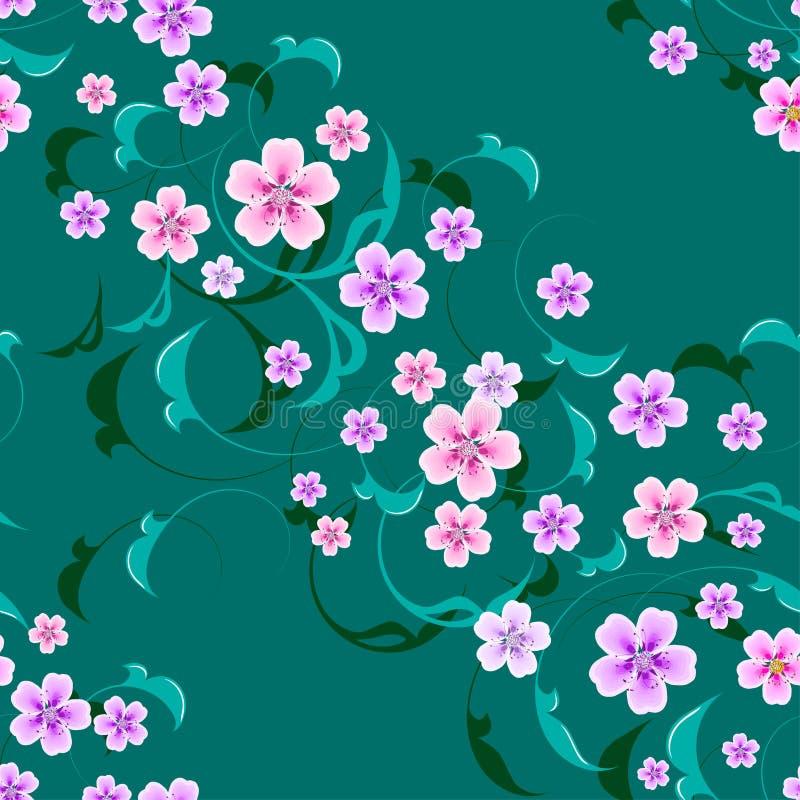 Fleurs sans couture de vecteur avec des feuilles sur le fond images stock
