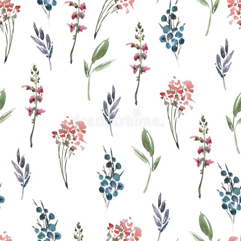 Fleurs sans couture florales de modèle d'aquarelle de résumé, brindilles, feuilles, bourgeons Illustration florale de cru peint à illustration de vecteur