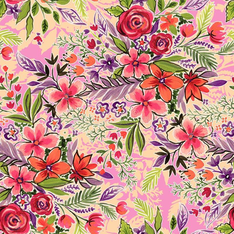 Fleurs sans couture sur le rose modèle écervelé de mode illustration stock