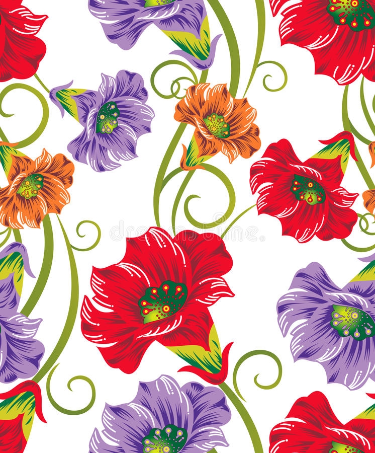 Fleurs sans joint de vecteur pour des conceptions de textile illustration libre de droits