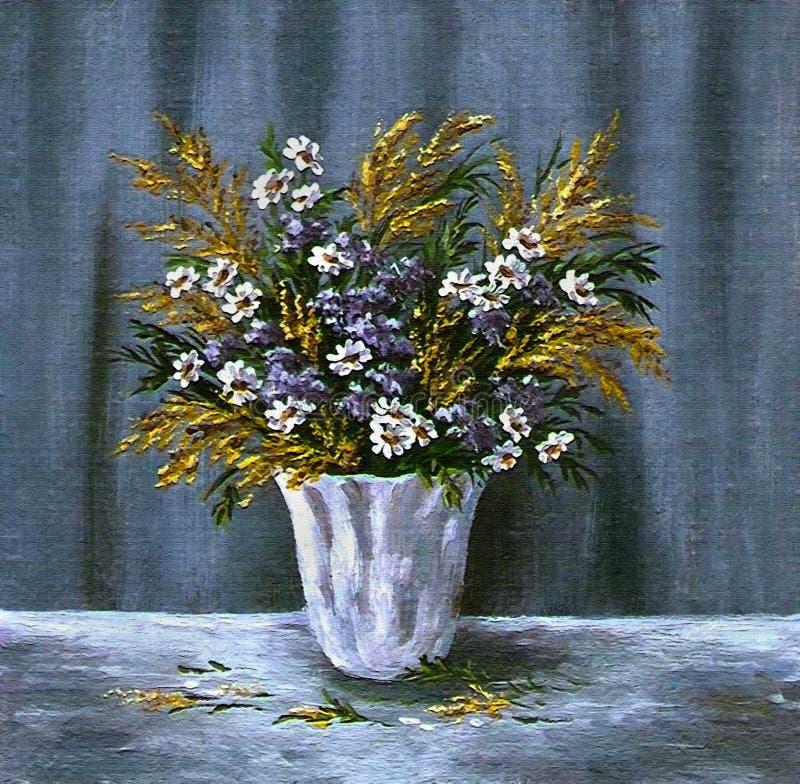 Fleurs sauvages dans un vase blanc illustration libre de droits