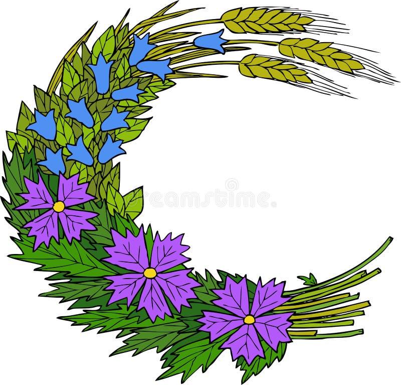 Fleurs sauvages et blé illustration de vecteur