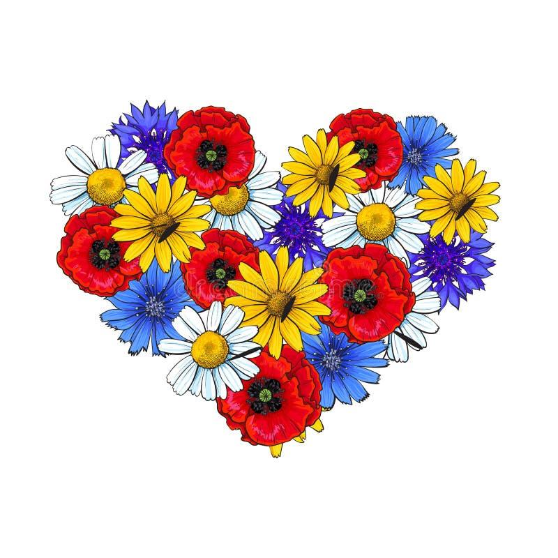 Fleurs sauvages - pavot, camomille, bleuet, marguerite, élément en forme de coeur de décoration illustration libre de droits