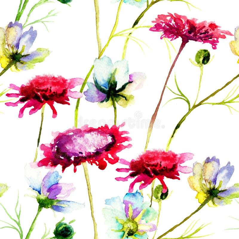 Fleurs sauvages stylisées illustration stock