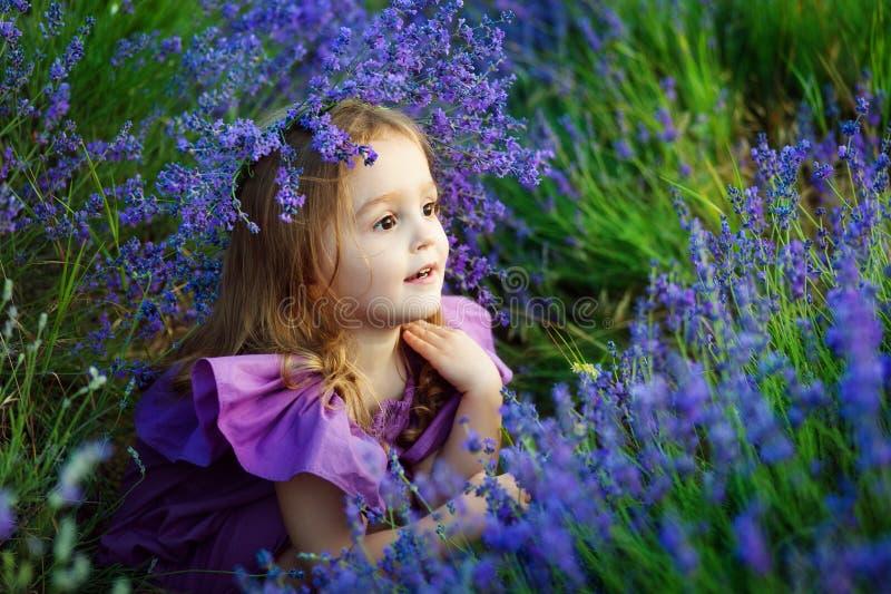 Fleurs sentantes de petite fille dans le pré photos stock