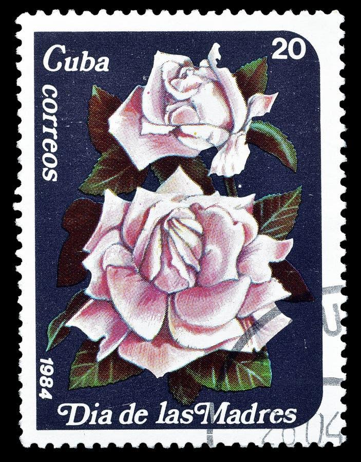 Fleurs sur des timbres-poste images stock