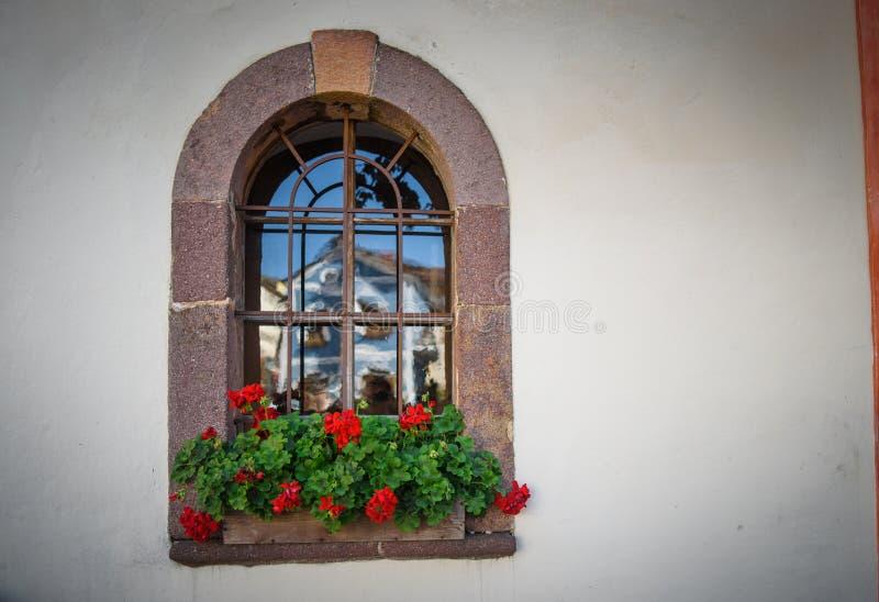 Fleurs sur la fenêtre d'une maison dans un bâtiment antique images libres de droits