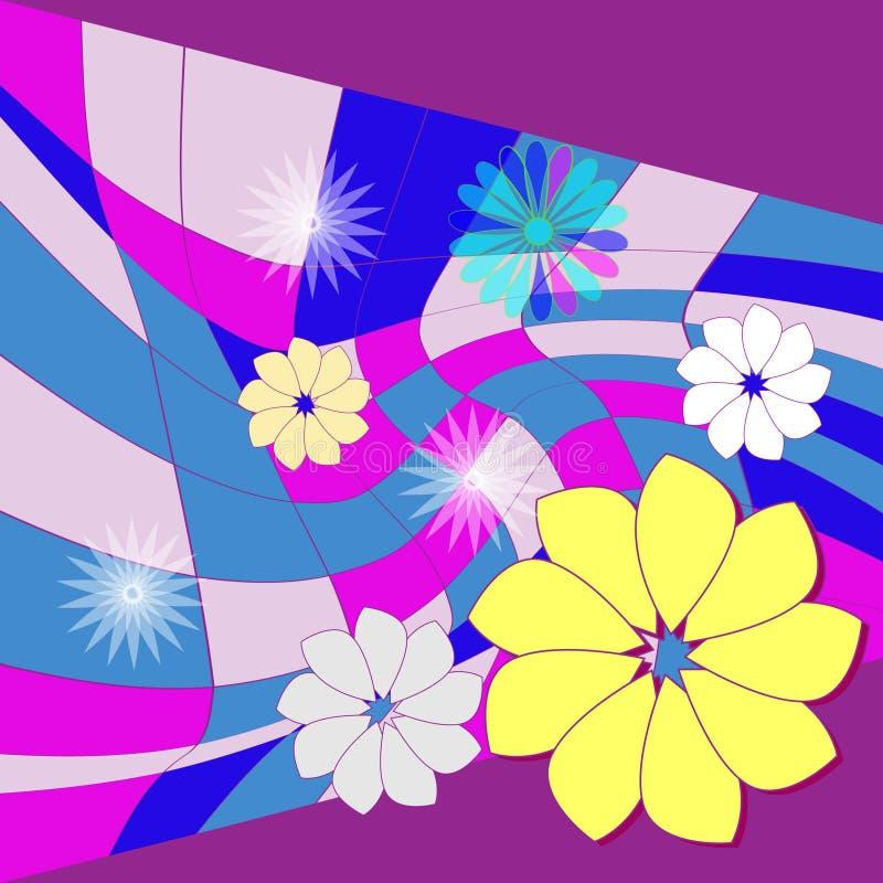 Fleurs sur la mosaïque photographie stock libre de droits