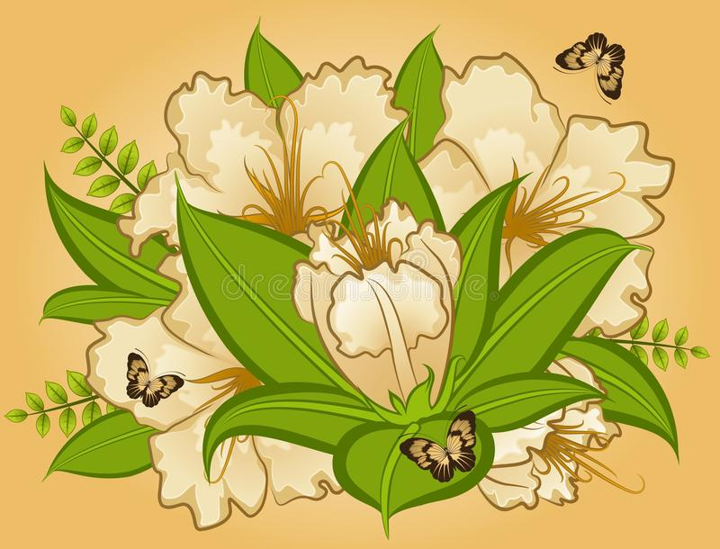 Fleurs sur le fond illustration de vecteur