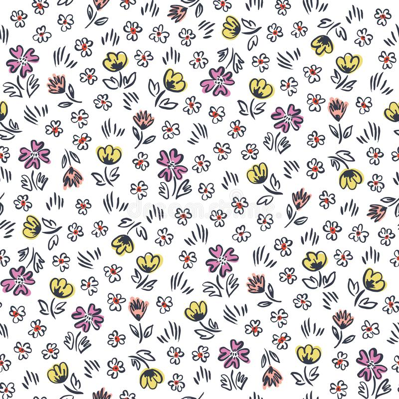 Fleurs tirées par la main abstraites écervelées mignonnes sur le modèle sans couture de vecteur blanc de fond Impression florale  illustration stock