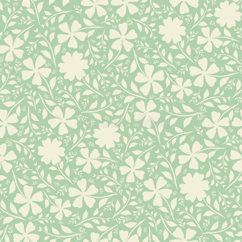 Fleurs tirées par la main crèmes dans la conception dense de duotone de cru Modèle sans couture de vecteur sur le fond vert en bo illustration libre de droits