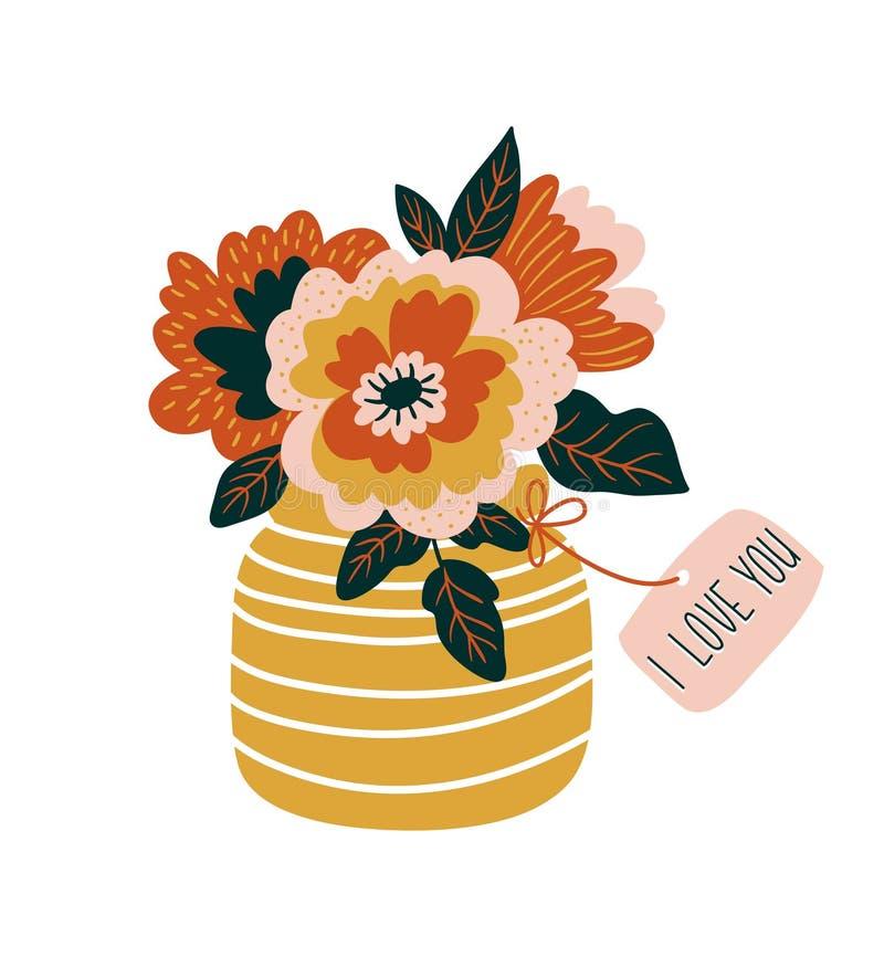 Fleurs tirées par la main dans le vase avec l'étiquette - ` de ` je t'aime conception d'impression de vecteur illustration de vecteur