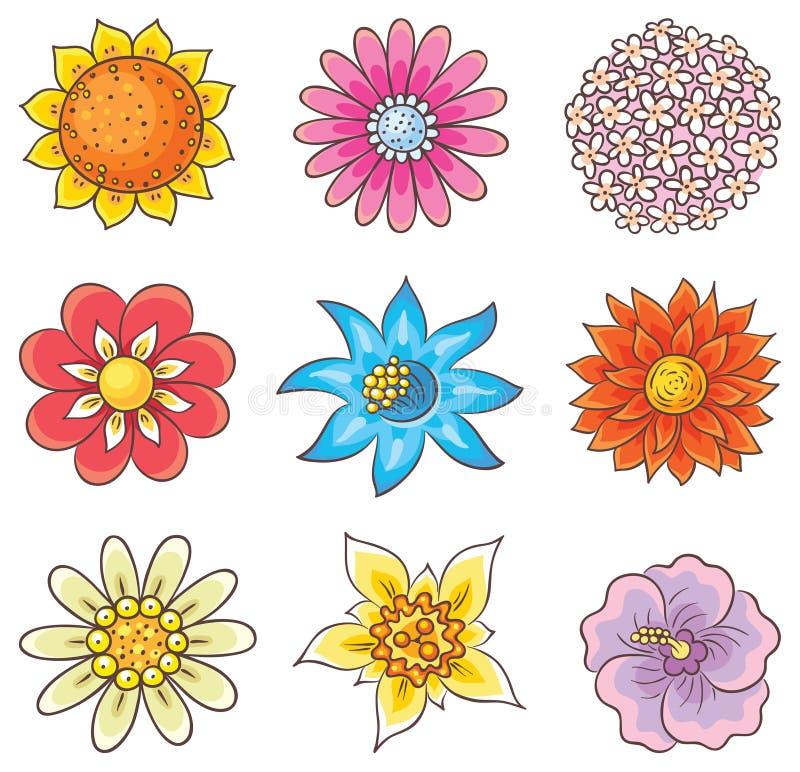 Fleurs tirées par la main de bande dessinée illustration stock