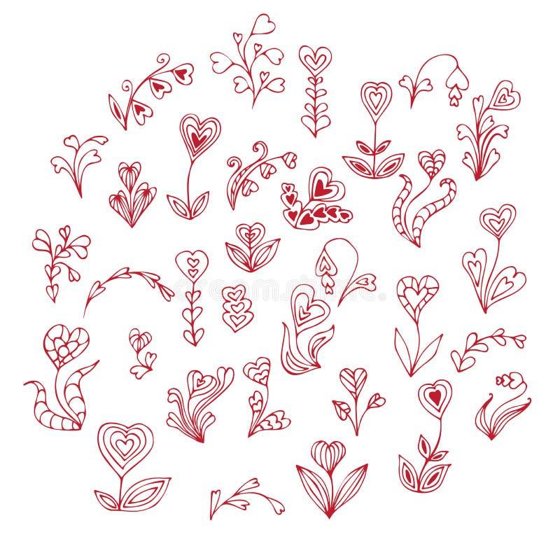 Fleurs tirées par la main de coeur de griffonnage illustration stock