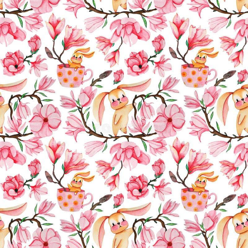 Fleurs tirées par la main de magnolia d'aquarelle et modèle sans couture de lapins pour la fabrication, le papier, le textile et  illustration stock