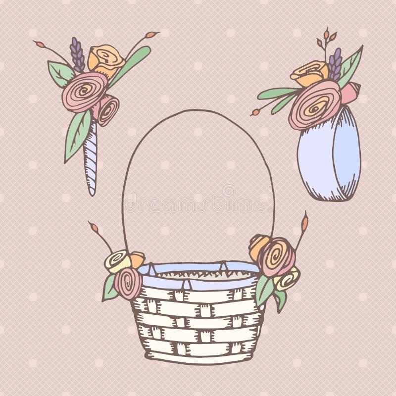 Fleurs tirées par la main de mariage illustration de vecteur