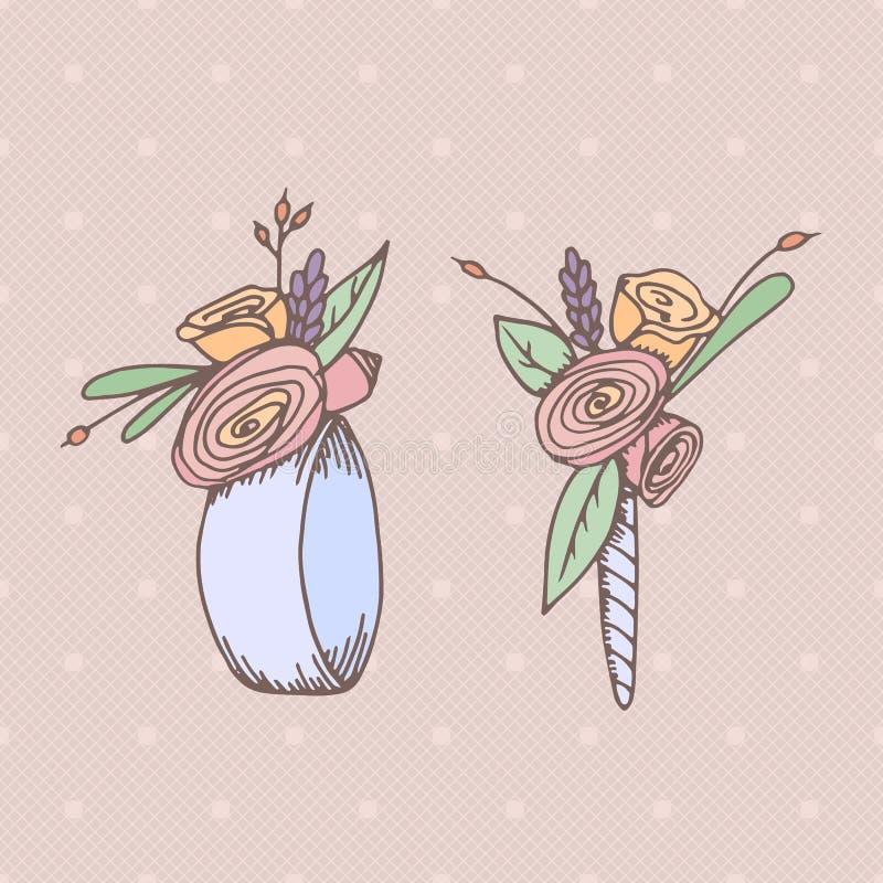 Fleurs tirées par la main de mariage illustration stock