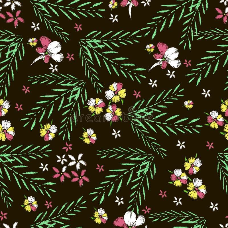 Fleurs tropicales broderie Bagout sans couture de vecteur tiré par la main illustration libre de droits