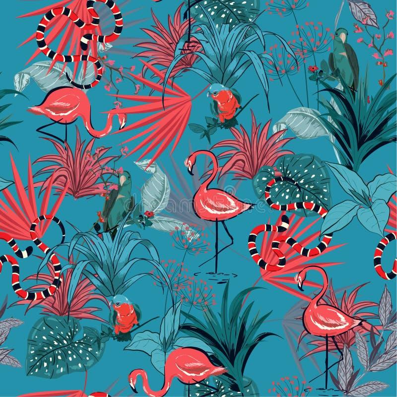 Fleurs tropicales de rétro été à la mode, palmettes, usine de jungle illustration stock