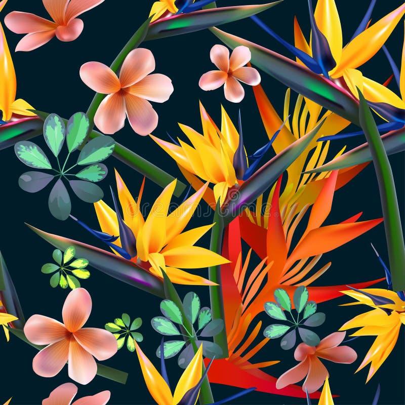 Fleurs tropicales et modèle sans couture de leavbs illustration stock