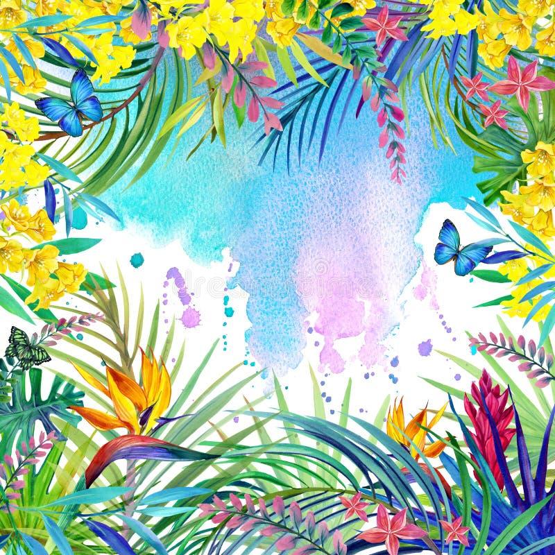 Fleurs tropicales, feuilles Illustration d'aquarelle