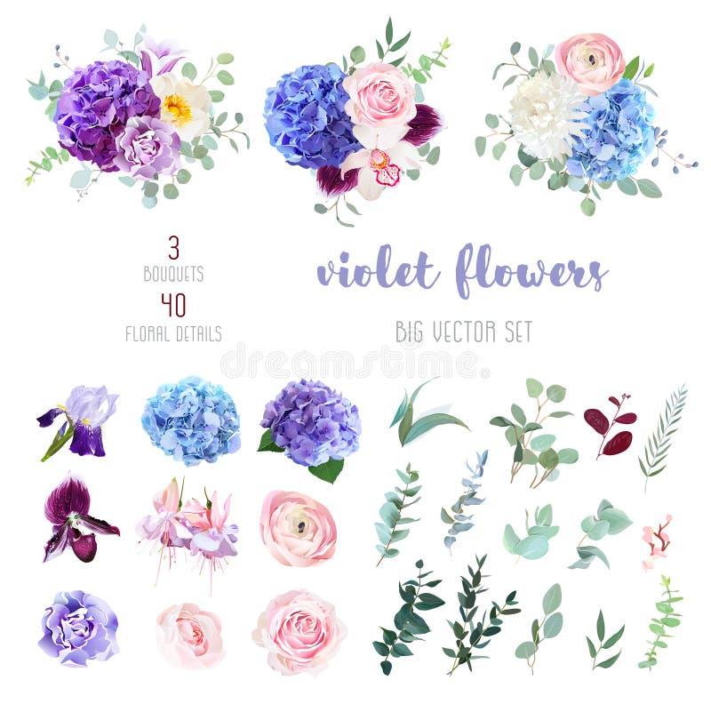 Fleurs violettes, pourpres et bleues et grand ensemble de vecteur de verdure illustration de vecteur