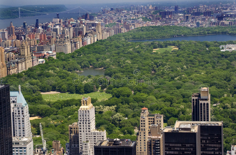 Fleuve de Central Park Hudson de constructions, New York City images libres de droits