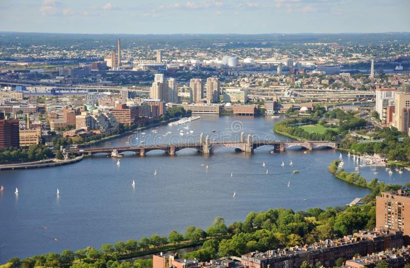 Fleuve de Charles et passerelle de Longfellow, Boston image libre de droits