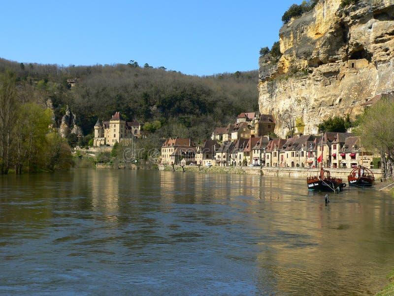 Fleuve de Dordogne, La Roque-Gageac (France) image stock
