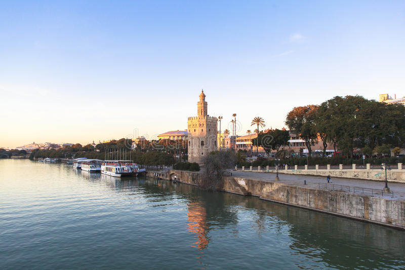 Fleuve de Guadalquivir en Séville, fleuve de Spain image libre de droits