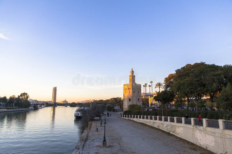 Fleuve de Guadalquivir en Séville, fleuve de Spain images libres de droits