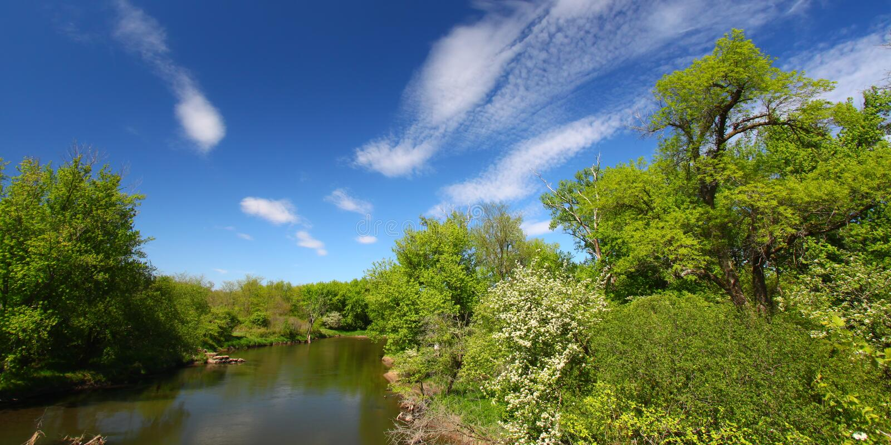 Fleuve de Kishwaukee en Illinois image libre de droits